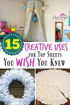 My kids hate top sheets! I'm so glad I found these creative ideas. I wish I knew them YEARS ago! I often use these ideas so no sheets go to waste! Got any opt sheets around your house? These diy project and easy hacks will make you love your top sheets once again!