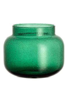 Vase en verre, petit modèle: Petit vase en verre avec bulles d'air apparentes…