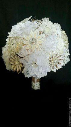 Свадебные цветы ручной работы. Ярмарка Мастеров - ручная работа. Купить Ажурный бело-шоколадный букет невесты. Handmade.
