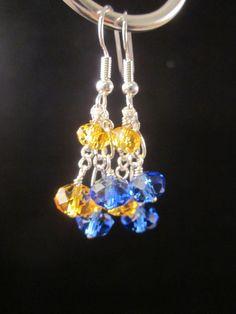 Crystal Dangle Earrings, Sapphire Blue and Yellow,  Bridal, Wedding, Bridesmaid, Formal, Prom,SRAJD