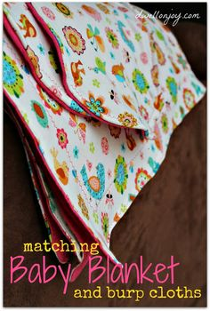 Dwell on Joy: Sewing Project: Baby Blanket & Burp Cloths perfect for mommies and babies Baby Sewing Projects, Sewing For Kids, Sewing Hacks, Sewing Crafts, Sewing Ideas, Diy Projects, Sewing Tips, Project Ideas, Sewing Patterns