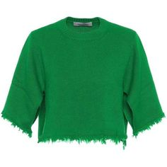 Valentino Cropped Cashmere Sweater (2 100 AUD) ❤ liked on Polyvore featuring tops, sweaters, green, cropped sweater, crop tops, cropped cashmere sweater, cashmere top and green cashmere sweater