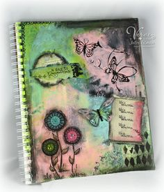 9x12 art journal page using acrylic paints, black gesso, and gelatos.