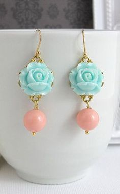 Blue Rose Earrings. Spring Summer with Pink Coral