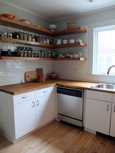 Simple kitchen Shelves - Before & After Mousy Kitchen gets an IKEA Makeover. Rustic Kitchen Decor, Diy Kitchen, Kitchen Interior, Kitchen Ideas, Kitchen Small, Kitchen Sink, Kitchen Cabinets, Ikea Kitchen Shelves, Island Kitchen