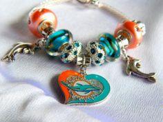 Miami Dolphins Football Bracelet