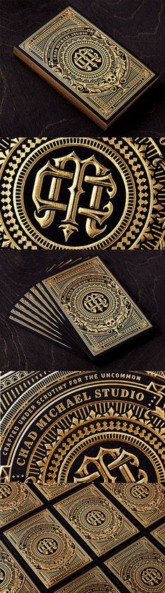 Incredibly Intricate Black And Gold Hot Foil Stamped Business Card For A Designer. Most epic business card ever! Web Design, Print Design, Logo Design, Business Card Design, Creative Business, Typography Design, Lettering, Stamped Business Cards, Bussiness Card
