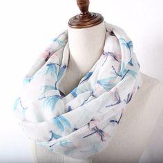 >> Click to Buy << Guttavalli Women Fresh Animal Print Ring Shawl White Beige Blue Flower Stripes Loop Scarf Soft Dragonfly Lovely Infinity Scarves #Affiliate