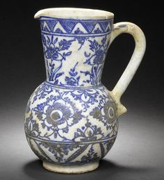 A rare early Kubachi blue and white pottery Jug Persia, Century Pottery Bowls, Ceramic Pottery, Flower Spray, Large Flowers, 16th Century, Islamic Art, Decoration, Art Pieces, Blue And White
