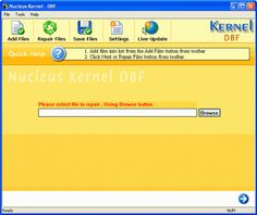 Home Screen - Main Screen of Kernel for DBF Recovery Software