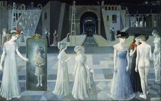 Once you see the paintings of Paul Delvaux you are unlikely to forget them. The dreamlike mood and quaint atmosphere is unique and hypnotic. Le Tunnel, Paul Delvaux, Future People, Tate Gallery, Renaissance Artists, Dangerous Minds, Rene Magritte, Magic Realism, Pope John