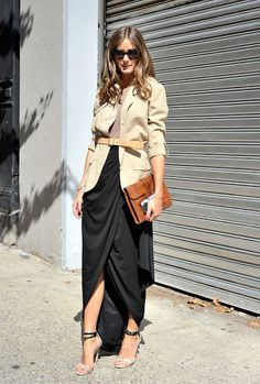 Olivia Palermo attends the 2012 Rachel Zoe Spring Collection in a floaty black maxi skirt and belted tan blazer.
