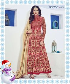 RED RAW SILK ANARKALI SUIT WITH EMBROIDERY WORK - Image 8