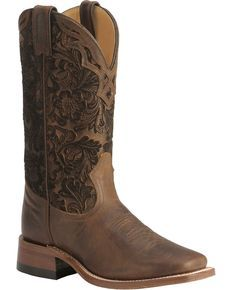 Boulet Hand Tooled Shaft Cowgirl Boots - Square Toe, Tobacco