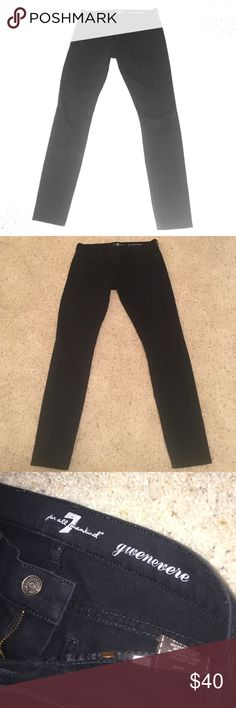 "7 For All Mankind Black Skinny Jeans These GUC black skinny jeans from 7 For All Mankind make a great closet staple! Stretch denim with classic front closure. Dark hardware zippers on the back pockets provide fun, subtle detail. Right back pocket zipper is open but could be sewed shut. Inseam 31"". These were worn a few times but are in good condition. Make an offer! 7 For All Mankind Jeans Skinny"