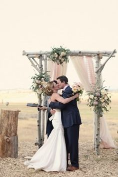 Rustic Wedding Ceremony arch - with lace - burlap panels? What do you think Sarah? Wedding Ceremony Ideas, Wedding Arbors, Wedding Arch Rustic, Industrial Wedding, Outdoor Ceremony, Wedding Themes, Wedding Decorations, Outdoor Weddings, Wedding Ceremonies