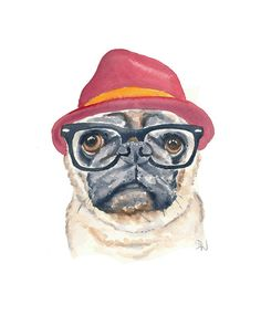 Pug Watercolor PRINT - Dog Watercolour Painting, Hipster Dog, 5x7 Art Print, Funny Painting