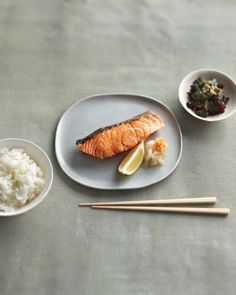 A squeeze of lemon and a drizzle of soy sauce over grated daikon radish are the only enhancements you'll need for Chef Nobu's perfectly cooked salmon fillet.