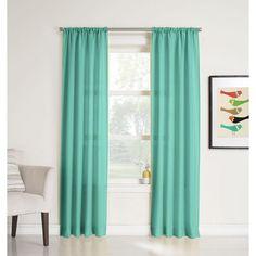 LICHTENBERG Sheer Pool Blue No. 918 Millennial Ryan Heathered Texture Sheer Curtain Panel, 40 in. W x 84 in. L