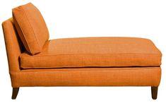 Armless Chaise Longue by David Seyfried Ltd in orange fabric.