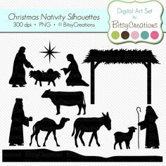 Christmas Nativity Silhouettes Digital Art Set by BitsyCreations