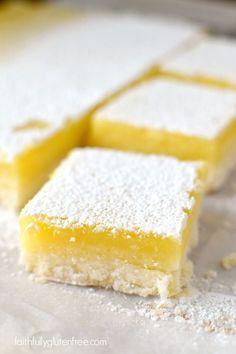 Lemon Squares (Gluten Free Lemon Bars) are the easiest and best lemon bar rec. Gluten Free Sugar Cookies, Gluten Free Cakes, Gluten Free Baking, Gluten Free Recipes, Gluten Free Deserts, Foods With Gluten, Organic Cookies, Lemon Recipes, Dessert Recipes