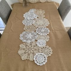 Really love this, from the Etsy shop LynnLakeWorkshop. http://etsy.me/2imDdSg #etsy #housewares #homedecor #doilies #crochet #doiliesforwedding #shabbychic #weddingdoilies #crochetdoilies #vintagestyleLove these old doilies which have been made into a table runner. Must