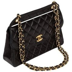 Preowned 1991 Chanel Quilted Black Leather Shoulder Bag W/double Chain & Gold Hardware