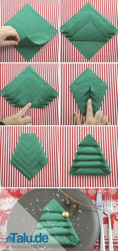 Instructions: Fold Napkins for Christmas - Stars, Angels & Co - # Instructions . Instructions: Fold Napkins for Christmas – Stars, Angels & Co – # Christmas Tree Napkin Fold, Christmas Towels, Christmas Napkins, Christmas Time, Christmas Crafts, Christmas Ornaments, Christmas Stars, Deco Table Noel, Napkin Folding