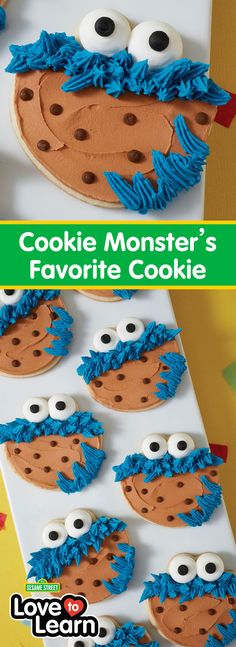 Cookie Monster knows a good cookie when he sees one…and this Cookie Monster's Favorite Cookie project is sure to be any cookie lover's favorite! Made using a tasty sugar cookie recipe, these sweet Sesame Street cookies use the pull-out star technique to c Sugar Cookies Recipe, Yummy Cookies, Fun Cupcakes, Cupcake Cakes, Cookie Monster Cakes, Sesame Street Cookies, Cookie Designs, Cookie Ideas, Cake Shapes