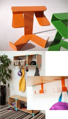 Double hook, Designed to attach to our Wall Mount line, this little piece does double duty to keep you organized.