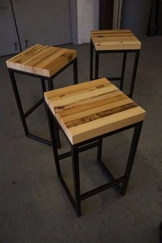 wood & metal restaurant signs es of reclaimed wood bar stools. Love the lines and . Loft Furniture, Steel Furniture, Industrial Furniture, Modern Furniture, Furniture Design, Furniture Ideas, Furniture Removal, Wood Steel, Wood And Metal