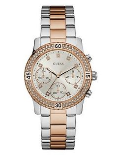 Silver and Rose Gold-Tone Sport Watch | shop.GUESS.com