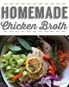 Homemade Chicken Broth from Scratch | Easy to make and use right away or freeze it for soups you'll be making later. TodaysCreativeLife.com