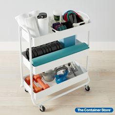 Whenever you need extra storage, this Large 3-Tier Rolling Cart is ready to roll. It's generously sized yet easy to slide into a home office, pantry, laundry room or bath. Three tiers give you room to organize. Mesh bottoms provide ventilation. Whether you're sorting toys, games, craft projects, kitchen gear, towels or cleaning supplies, this metal rolling cart makes the most of your space.