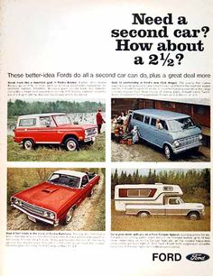 1969 Ford Trucks original vintage advertisement. Featuring the Bronco 4x4, Ranchero Pickup, Club Wagon Van, and Camper Special Pickup.