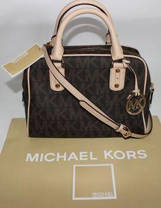 f8307c0a284f NWT MICHAEL KORS Medium Natural Leather & Brown MK Signature Satchel Handbag