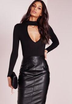Petite Choker Neck Plunge Bodysuit Black
