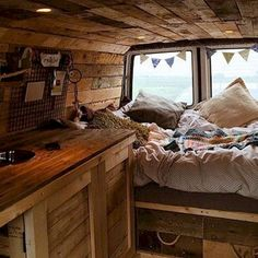 Camper van interior design and organization ideas (55)