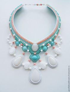Купить Cruise - белый, бирюзовый, коралл, море, розовый, кахолонг, кристаллы сваровски (swarovski), амазонит