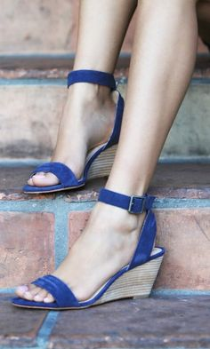 Blue suede wedge sandals