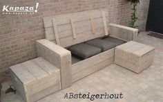 499 00 per stuk formaat 1 bij 1 1 bij 1 inclusief kussens Outside Furniture, Diy Outdoor Furniture, Deck Furniture, Pallet Furniture, Furniture Design, Deck Seating, Garden Seating, Outdoor Seating, Outdoor Spaces