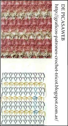 COLECCION DE PUNTOS TEJIDOS A CROCHET CON SUS PATRONES Stitch Patterns, Knitting Patterns, Crochet Patterns, Crochet Stitches Chart, Blanket Stitch, Love Crochet, Charts, Hobbies, Ideas