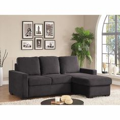Chester Pullout Sofa with Storage Chaise - Charcoal Gray