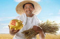 Farmer holding wheat and piggy bank Piggy Bank, Farmer, Money Box, Money Bank, Farmers, Savings Jar