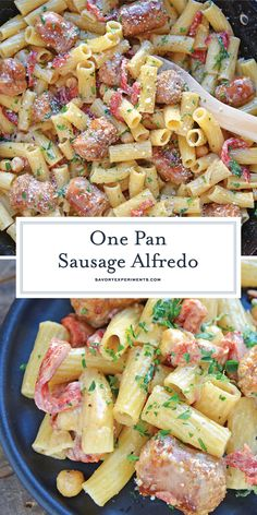 This delicious One-Pan Sausage Alfredo Pasta is an easy weeknight meal with instructions on how to make homemade alfredo sauce. So simple and good! Sausage Alfredo Recipe, Sausage Recipes, Pasta Recipes, Drink Recipes, Dinner Recipes, Pasta With Alfredo Sauce, Homemade Alfredo, Friend Recipe, Easy Weeknight Meals