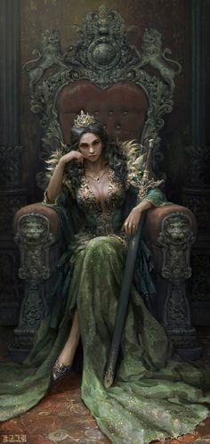 Queen by Sanghyun Kam - Your Daily Dose of Amazing beautiful Creativity and Digital Art - Fantasy Characters: Archers Assassins Astronauts Boners Knights Lovers Mythology Nobles Scholars Soldiers Warriors Witches Wizards Fantasy Queen, Fantasy Princess, Dark Princess, High Fantasy, Fantasy Warrior, Fantasy Girl, Warrior Queen, Digital Art Fantasy, Digital Art Girl