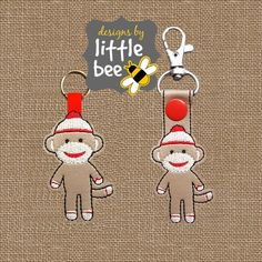 sock monkey key fob AND snap tab design by designsbylittlebee
