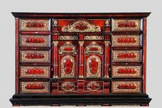 Boulle marquetry~ Cabinet tortoiseshell and black wood decorated with a theater inside, Antwerp, seventeenth century. hind legs (usual restorations).