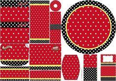 Rojo, Negro y Lunares Blancos: Etiquetas para Candy Bar para Imprimir Gratis.
